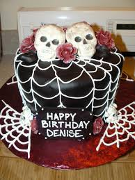 Halloween Happy Birthday by Halloween Skull U0026 Roses Birthday Cake Cakecentral Com