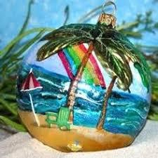 decorative hawaiian wood handcrafted christmas tree ornament with