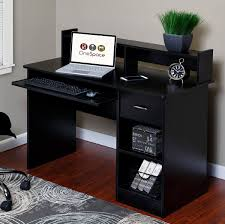 computer armoires hutches shop amazon onespace essential computer desk hutch with pull out keyboard black