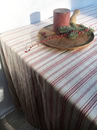 Coffee Table Cloth by French Ticking Tablecloth Striped Linen Tablecloth Red Striped