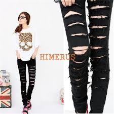Black Skinny Jeans With Holes Shop Punk Skinny Jeans On Wanelo