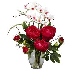 Peony Floral Arrangement by Peony U0026 Orchid Silk Flower Arrangement Nearly Natural