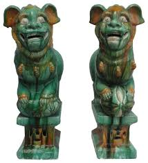 lion dog statue pair green glaze ceramic foo dog statue feng shui lion