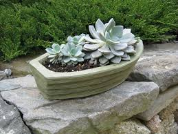 boat planter concrete green boat plant pot flower pot boat