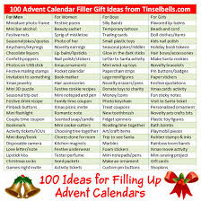 100 advent calendar gift ideas fillers for and