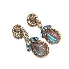 clip on earrings saphiret and 1950s vintage tear drop clip earrings
