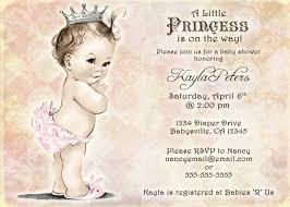 vintage baby shower invitation for princess crown