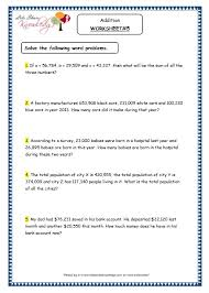 grade 4 maths resources 1 4 5 word problems addition printable