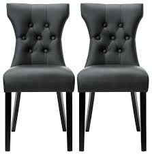 belleze modern leather tufted back elegant dining chair