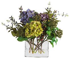 mixed hydrangea with rectangle vase silk flower arrangement