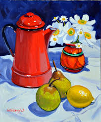 study with red coffee pot frank colclough painting stillewe