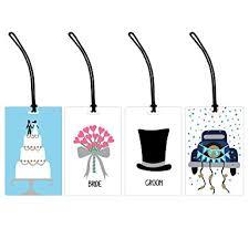 and groom luggage tags just married 4 luggage tag set groom