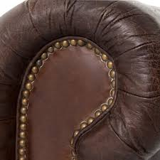 club chesterfield tufted brown leather sofa 96w kathy kuo home