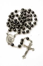 mens rosary 078 st michael hematite men s rosary rosarycard net
