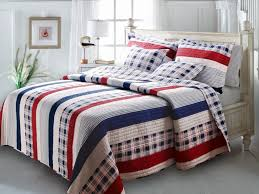 nautical bedroom decor with coastal red white and blue bedding