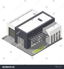 onestory house flat roof isometric icon stock vector 393884533