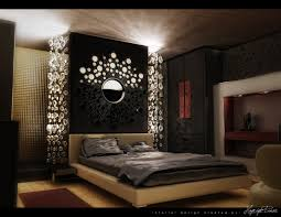 beautiful mirrored headboard and bubble lighting with platform bed
