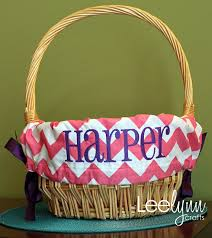 personalized easter basket liners pink chevron personalized monogrammed easter basket liner