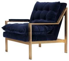 Blue Velvet Accent Chair Worlds Away Cameron Navy And Gold Lounge Chair Contemporary