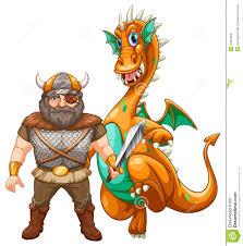 viking and dragon stock vector image 47067856