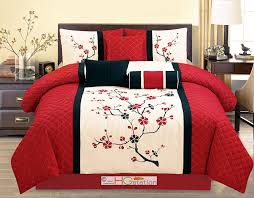 Plum Bedding And Curtain Sets Amazon Com 7 Pc Quilted Peach Plum Blossom Tree Embroidery