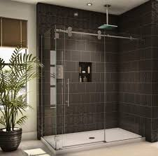 Bathroom Frameless Glass Shower Doors Brown Laminated Wooden Bathroom Vanity Frameless Glass Shower Door