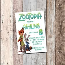Card Party Invitation Zootopia Personalized Birthday Invitation 1 Sided Birthday Card