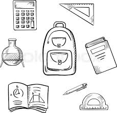 back to concept with backpack book calculator