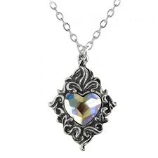 swarovski home decor crystal heart victorian pewter pendant with swarovski crystal