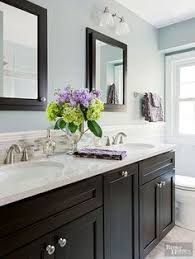 Bathroom Color Scheme by Like The Floors Dark Vanity Tiles But With Full Mirror Wall