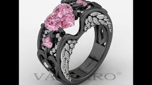 Black And Pink Wedding Rings by Angel Wing Collection Black And Pink Engagement Ring For Women