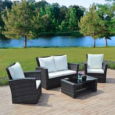 Amazon Com Merax 4 Piece Outdoor Pe Rattan Wicker Sofa And Chairs - garden furniture sets home outdoor decoration