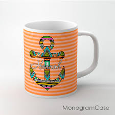 Coffee Cup Designs by Orange Stripes Aztec Design Anchor Coffee Cup Monogramcase