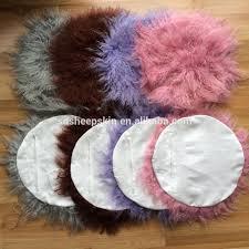 Pink Round Cushion Colorful Sheep Mongolian Fur Pillow Plush Long Round Pillows Buy