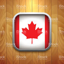 Canadian Flag Symbol Rounded Square Canadian Flag Icon On Wood Texture Stock Vector Art
