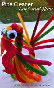 Kid Fall Crafts Pipe Cleaner Turkey For A Treat Holder And Thanksgiving Craft