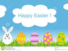 happy easter greeting card easter bunny eggs royalty free stock