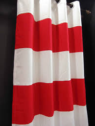 wide x drop red thick stripe cotton canvas curtains