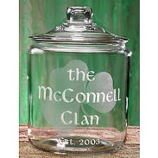 personalized cookie jars personalized shamrock glass cookie jar findgift