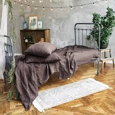 chocolate brown stonewashed slip linen sheet set len ok