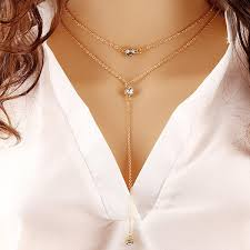 necklace double layer images Wholesale fashion zircon crystal pendant necklace double layer jpg