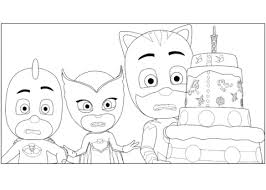pj masks birthday cake coloring free printable coloring pages