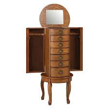 jewelry armoire oak finish burnished oak round jewelry armoire walmart com