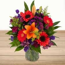 flowers arrangements sunset bliss floral arrangement