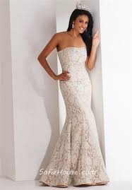 Light Blue Mermaid Dress Fit And Flare Mermaid Strapless Light Blue Lace Evening Prom Dress