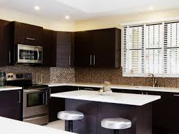 l shape kitchen decorating using dark brown mosaic colored glass
