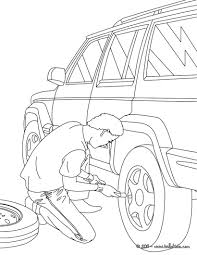 mechanic changing a wheel coloring pages hellokids com