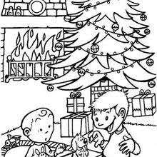 coloring page of christmas tree with presents decorated christmas tree coloring pages hellokids com