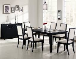 dining room sets with fabric chairs large black painted maple wood dining table with white upholstered