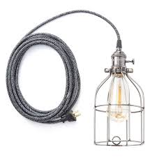 color cord company charcoal plug in pendant light w cage huckberry